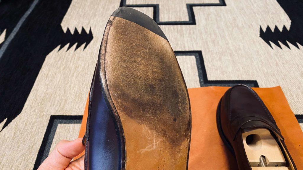 クリーナーで拭いた後の靴底