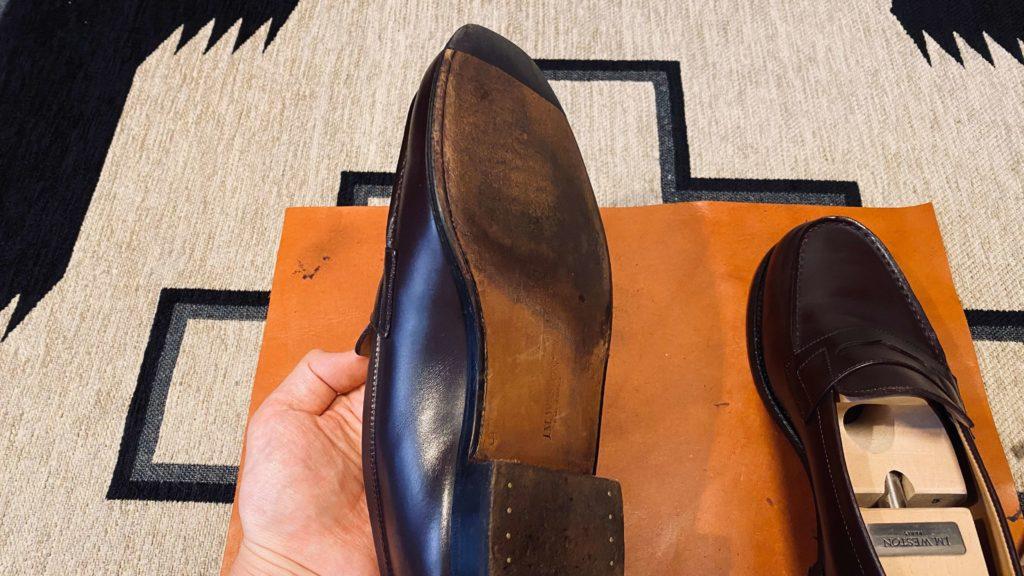 ソール用クリームを付けた後の靴底