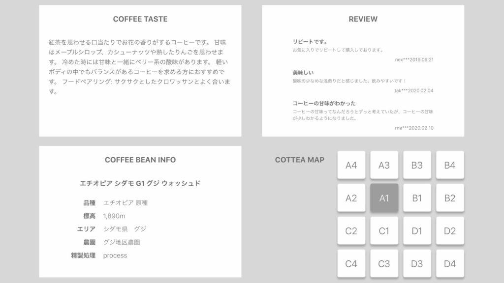 cotteaサイトの商品説明画面